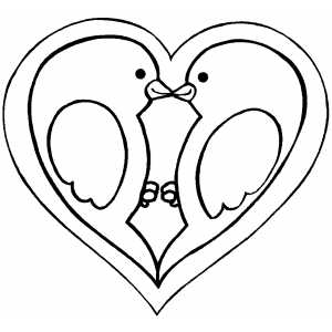Heart With Birds coloring page