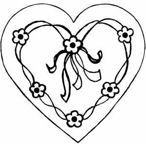 Heart With Flowers coloring page