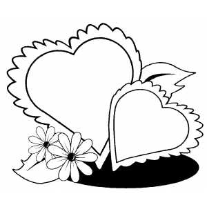 Hearts And Flowers coloring page