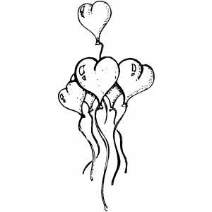 Hearts Balloons coloring page