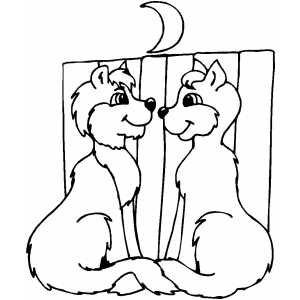 Lovers Cats coloring page