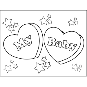 My Baby Candy Hearts coloring page
