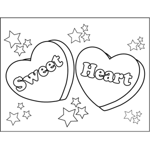 Sweet Heart Candy Hearts coloring page