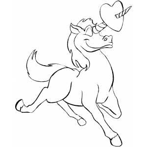 Unicorn And Heart coloring page