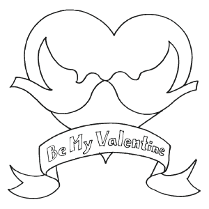Valentine Doves coloring page
