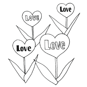 Valentine Flowers coloring page
