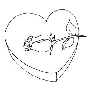 Valentine Rose and Chocolates coloring page