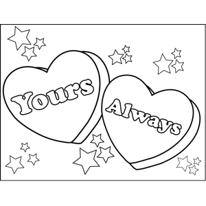 Yours Always Candy Hearts coloring page