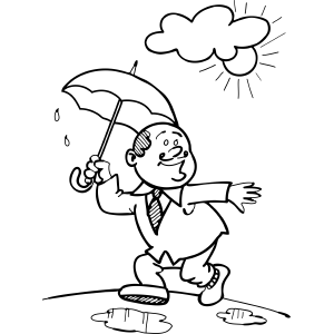 Businessman Steps in Rain Puddle coloring page
