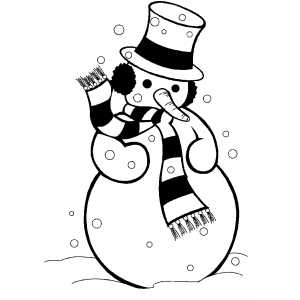 Dressed Snowman coloring page