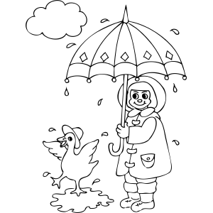 Duck And Girl In Rain Coloring Page