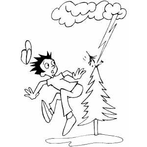 Lightning Storm Hit Tree coloring page