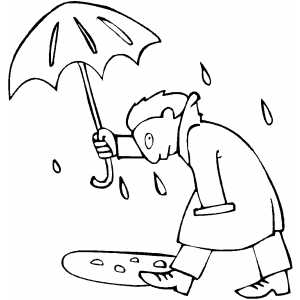 Man With Umbrella coloring page