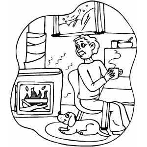 Sitting By The Fireplace coloring page