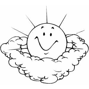 Sun And Clouds coloring page