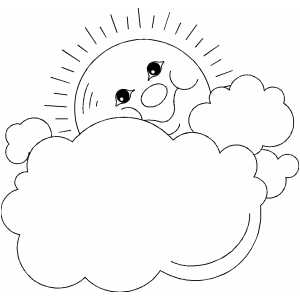 Sun And Clouds Frame coloring page