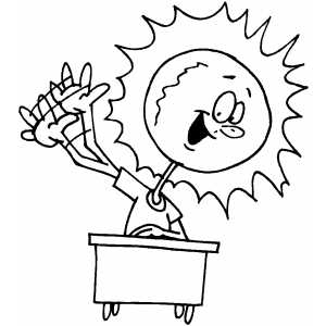 Sun Raising Hands coloring page