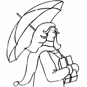 Woman Walking In Snow coloring page