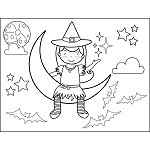 Witch Sitting on Moon