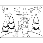 Witch with Hat Broom